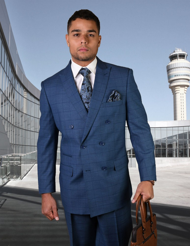 STATEMENT TZD-401 INDIGO PLAID, DOUBLE BREASTED SUIT, 100% ...