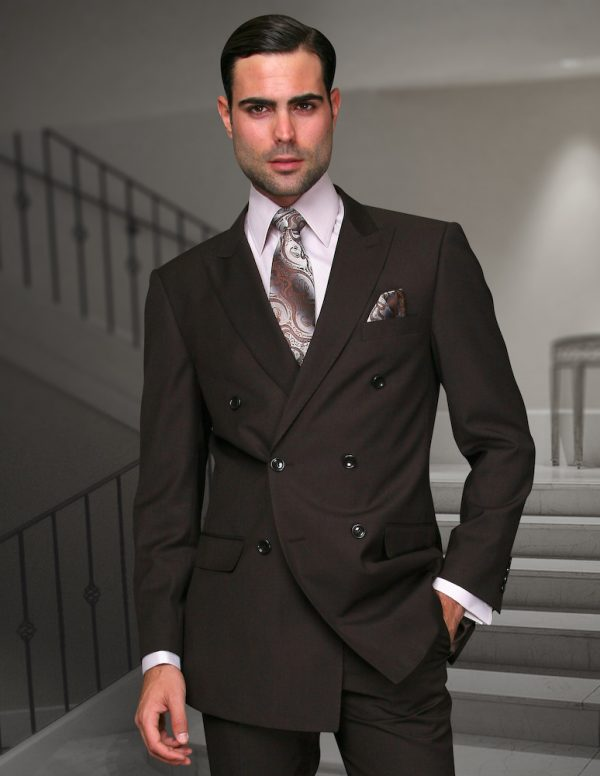 STATEMENT TZD-100 BROWN, DOUBLE BREASTED SUIT 2PC, 100% ...