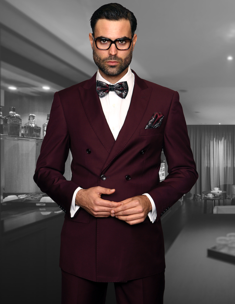 STATEMENT TZD-100 BURGUNDY, DOUBLE BREASTED SUIT 2PC, 100% ...