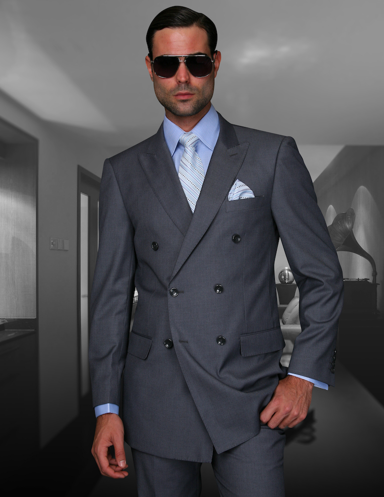 STATEMENT TZD-100 CHARCOAL, DOUBLE BREASTED SUIT 2PC, 100% ...