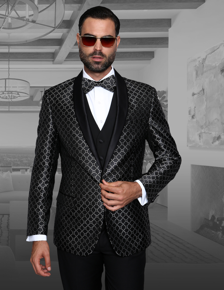 2f7bdbcf27a8 ... 4 PC FANCY SUIT WITH MATCHING BOW TIE, SLIM FIT, WOOL ITALY. bellagio5  black
