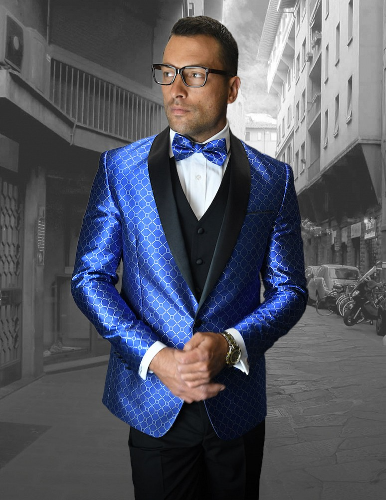 668502813765a STATEMENT BELLAGIO-5 ROYAL, 4 PC FANCY SUIT WITH MATCHING BOW TIE, SLIM FIT,  WOOL ITALY. bellagio5 roy