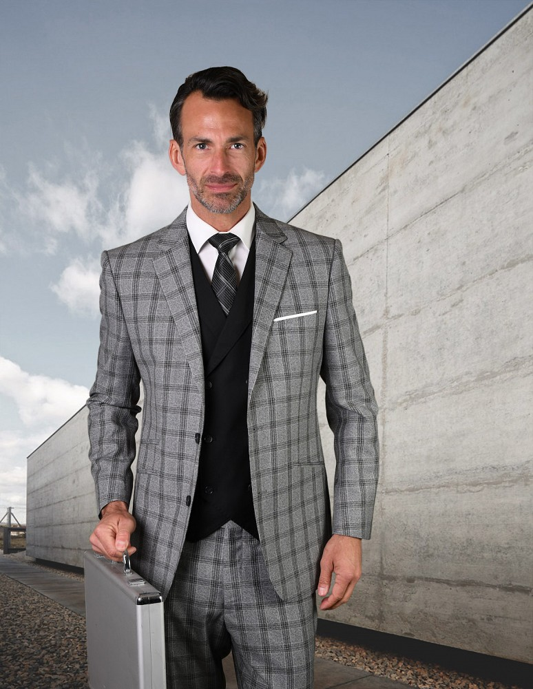 STATEMENT GILANO BLACK PLAID, 3PC SUIT WITH DOUBLE BREASTED VEST, 100% WOOL  ITALY