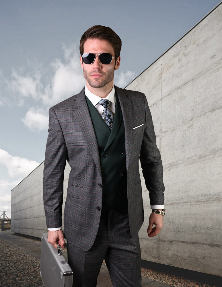 STATEMENT NIEVE CHARCOAL PLAID, 3PC SUIT WITH DOUBLE BREASTED VEST, 100%  WOOL ITALY