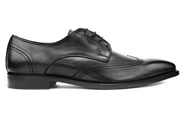 HAND MADE IN ITALY LEATHER OXFORD WITH DECORATIVE STITCHING AND WING TIP
