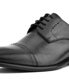 MADE IN ITALY ITALIAN LEATHER WITH DECORATIVE CAP TOE
