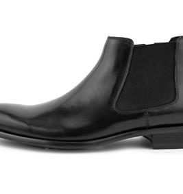 DOUBLE GORE LOW TOP LEATHER CHELSEA BOOT WITH A UNIQUE PERFORATED WING TIP AND HEEL DESIGN