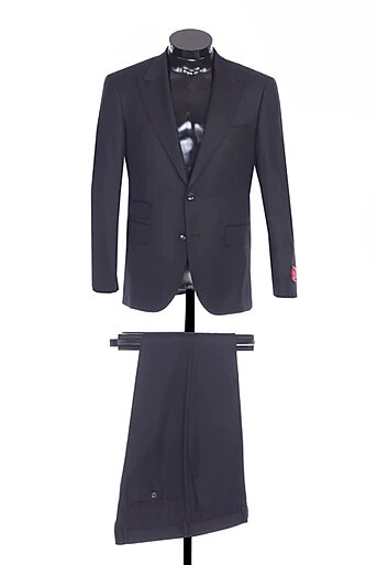 TWO BUTTON PEAK LAPEL, SIDE VENTS, FLAT FRONT PANTS, WOOL AND CASHMERE