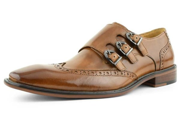 TRIPPLE CLOSURE LEATHER WING TIP MONK STRAP CLASSIC DESIGN